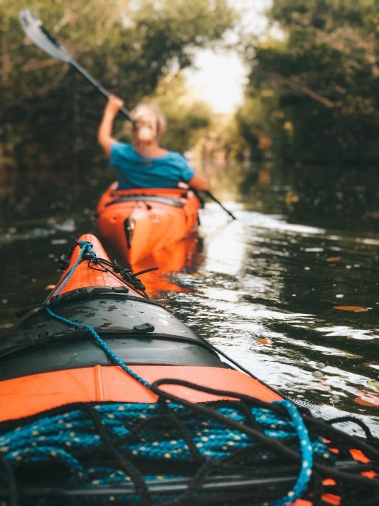 Balade en kayak le long d'une rivière
