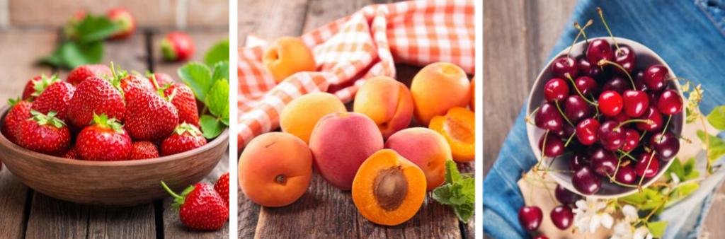 Fruits d'été: fraises, abricots et cerises