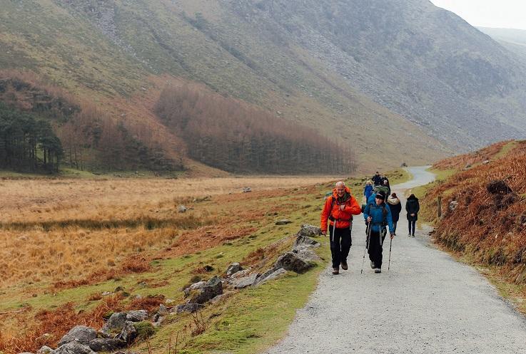Un groupe fait de la marche nordique en montagne